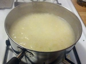 Grits in a pan