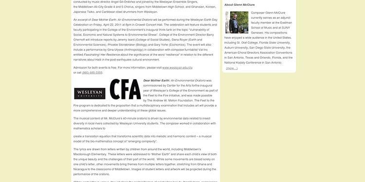 website screenshot - letterstomotherearth.com